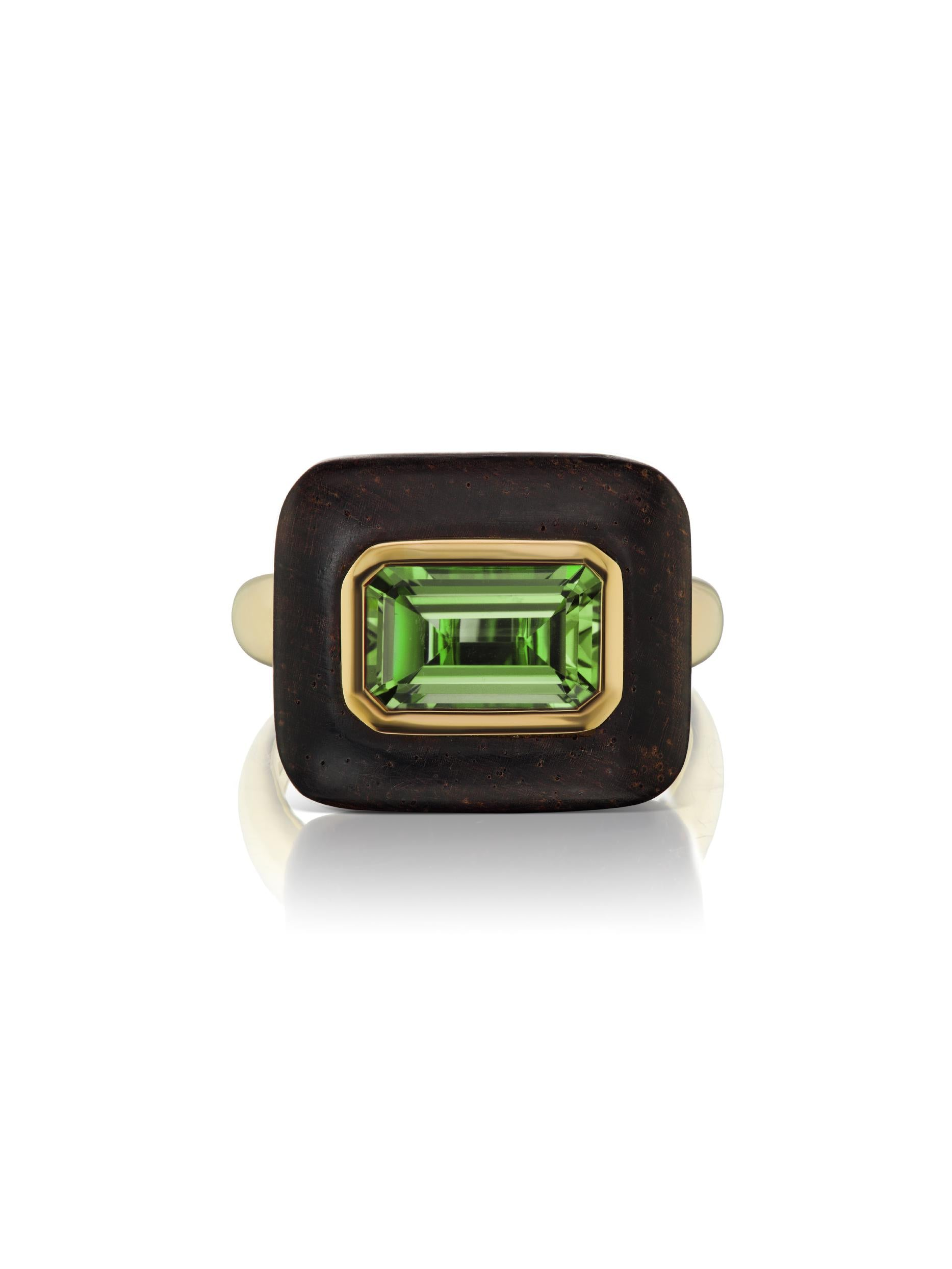 Voyager East-West Emerald Cut Green Tourmaline Wood Ring