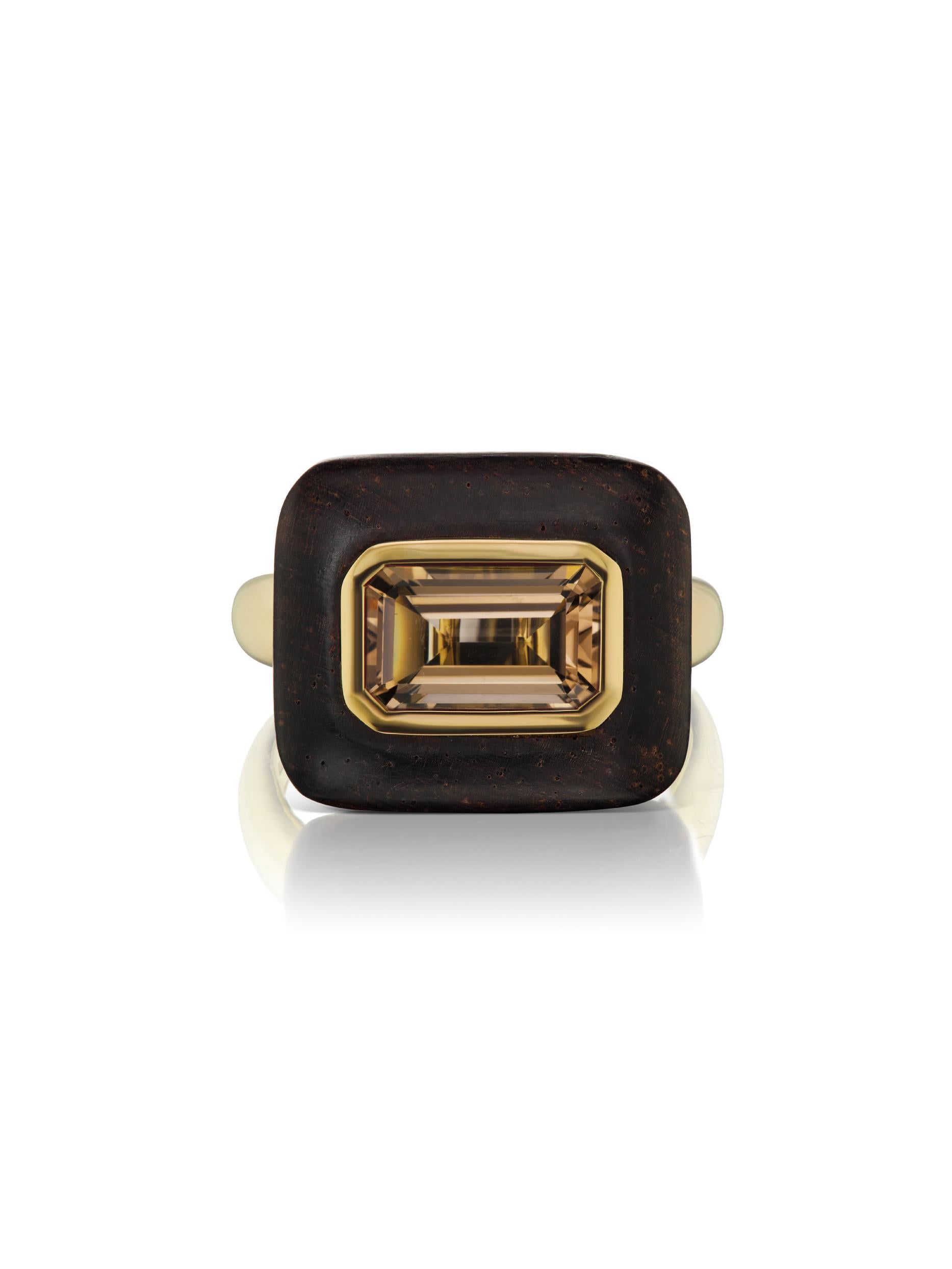 Voyager East-West Emerald Cut Smokey Topaz Wood Ring