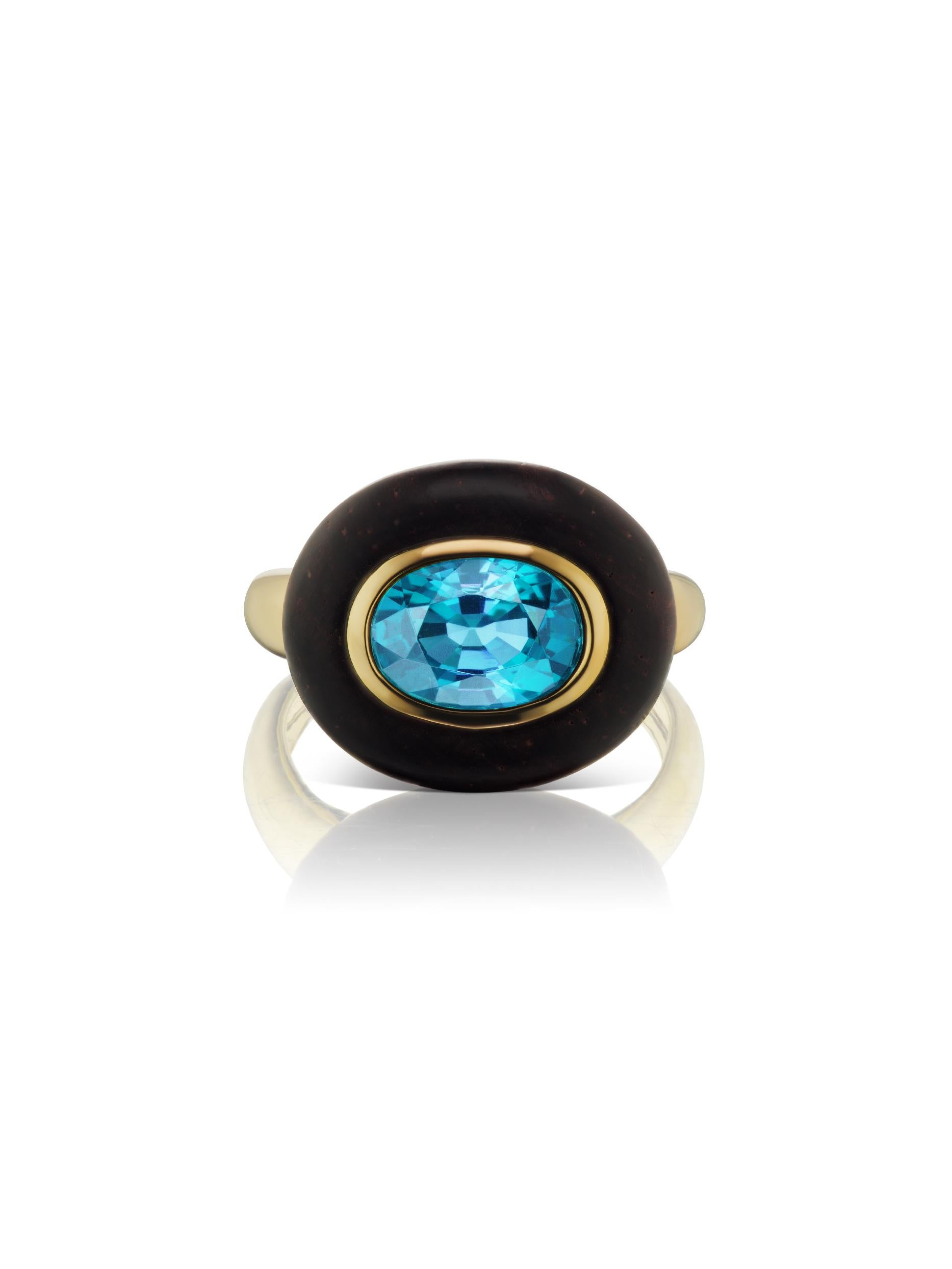 Voyager East-West Oval Blue Topaz Wood Ring