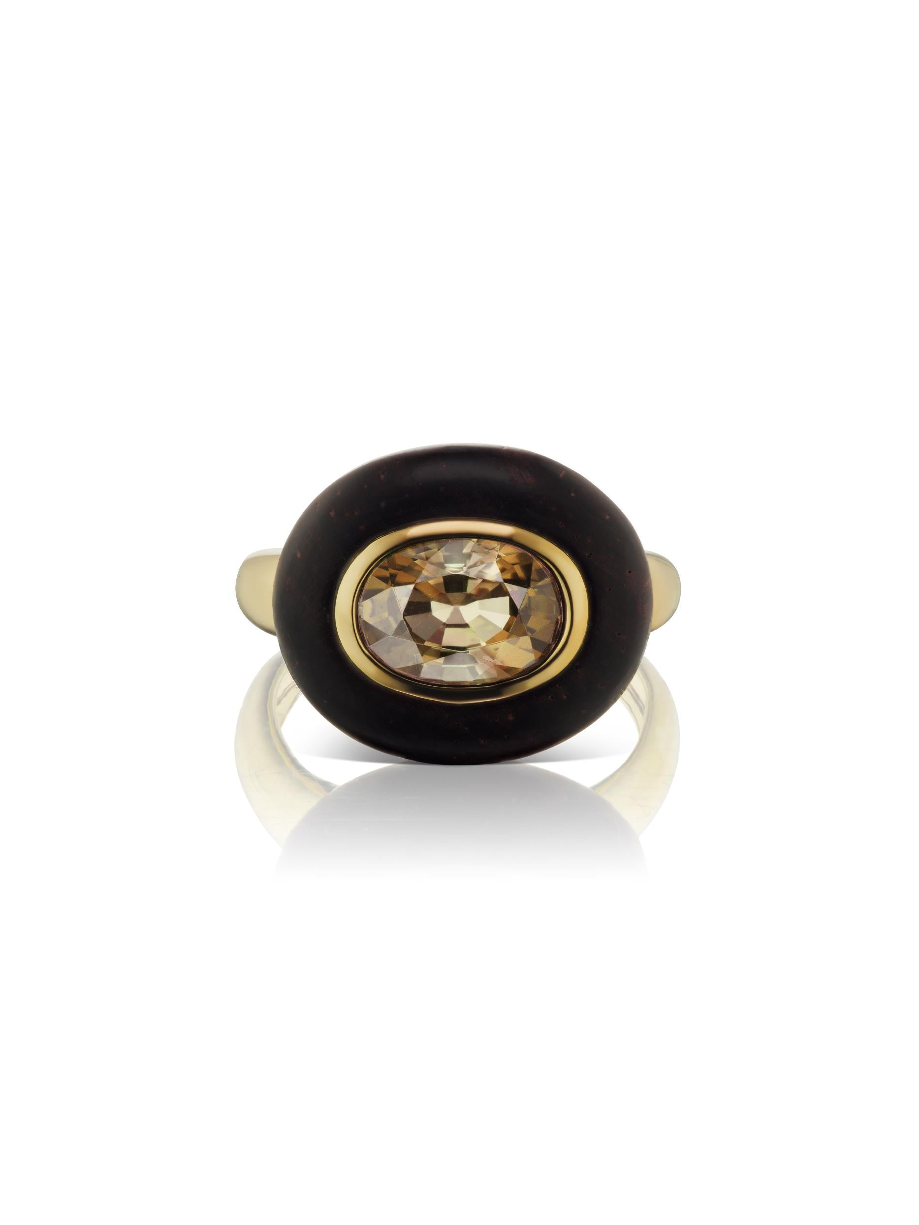 Voyager East-West Oval Smokey Topaz Wood Ring