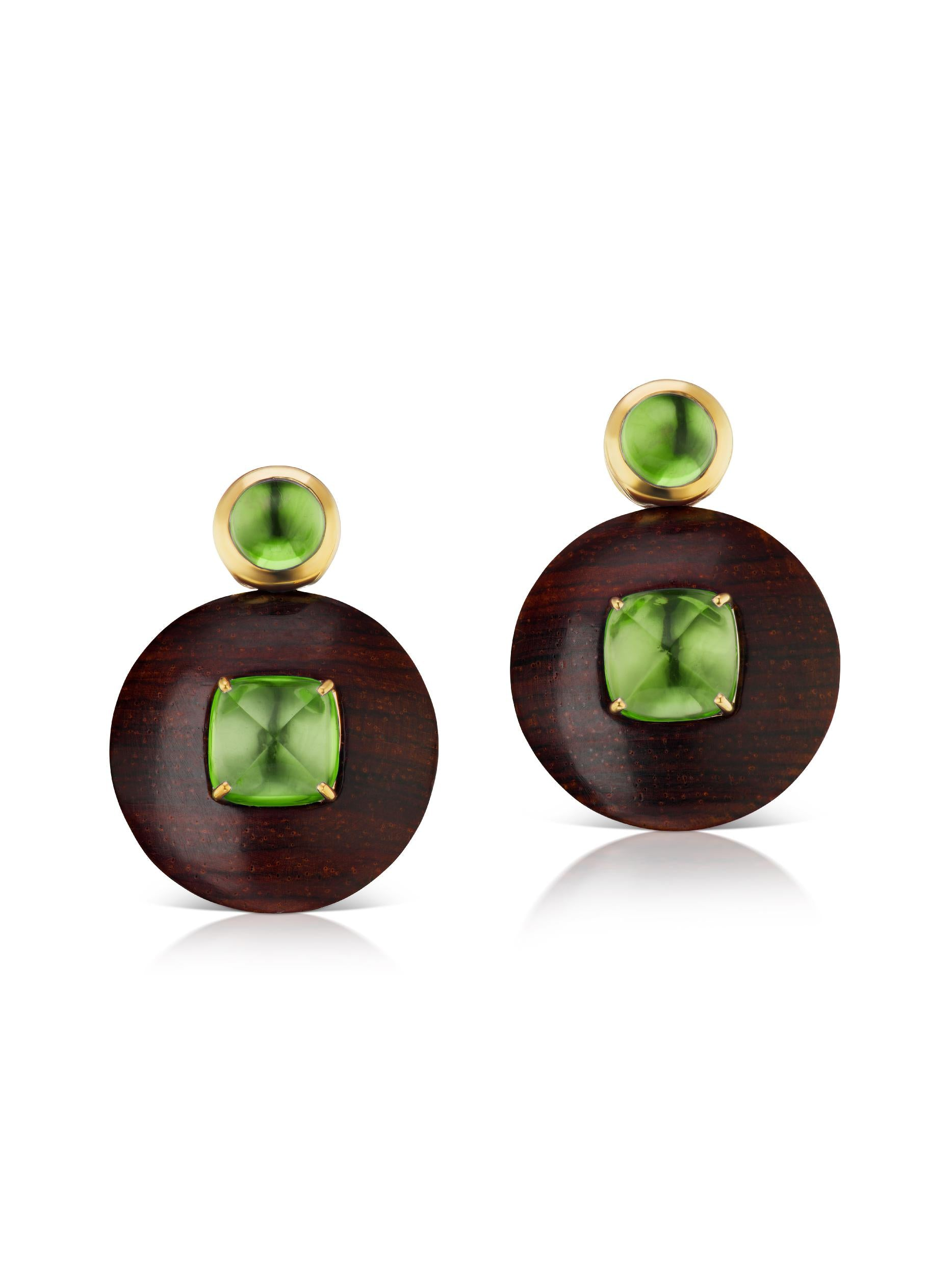 Voyager Green Tourmaline Wood Disk Earring