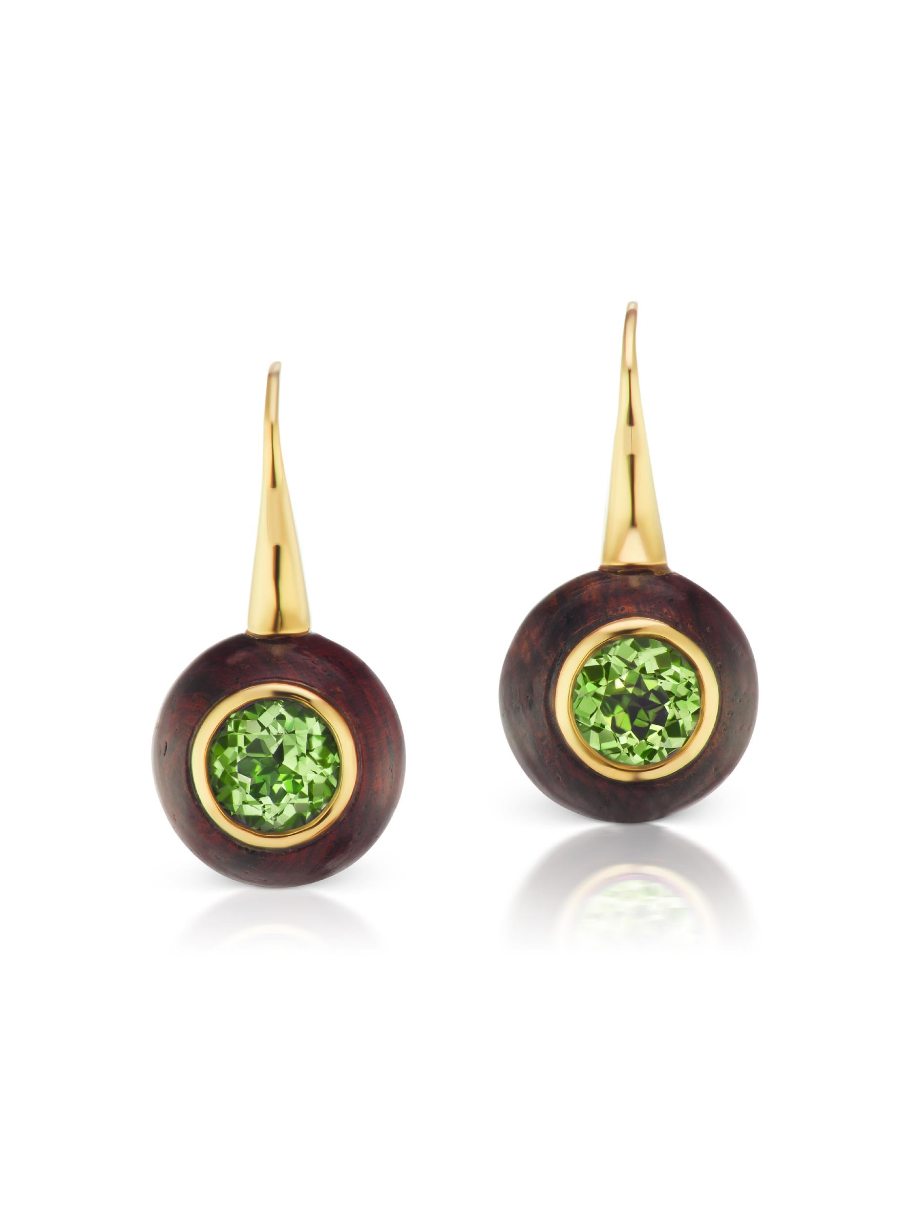 Voyager Green Tourmaline Wood Wire Earring