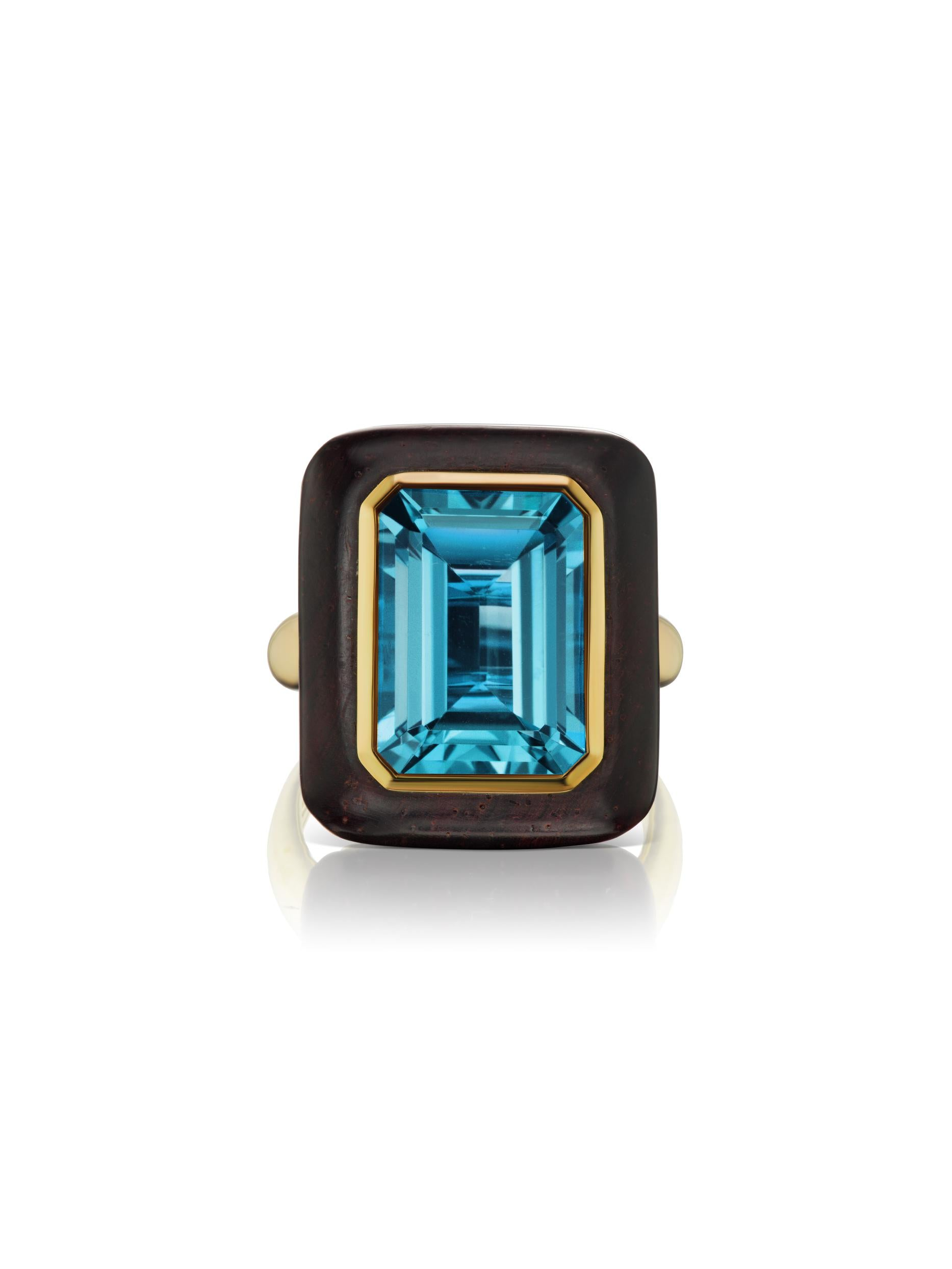 Voyager North-South Emerald Cut Blue Topaz Wood Ring