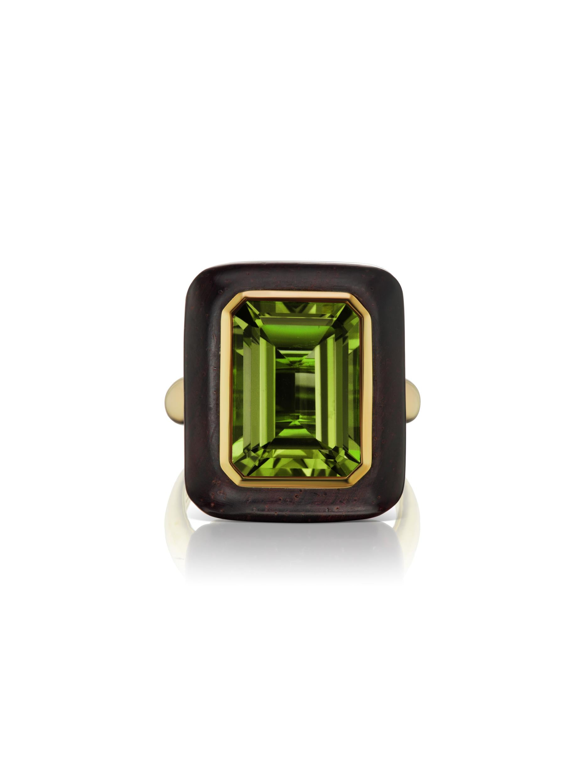 Voyager North-South Emerald Cut Green Tourmaline Wood Ring
