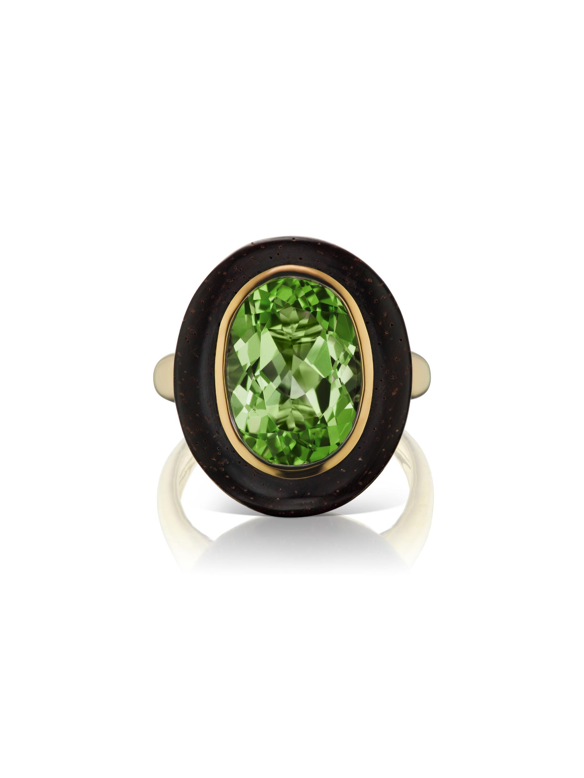 Voyager North-South Oval Green Tourmaline Wood Ring