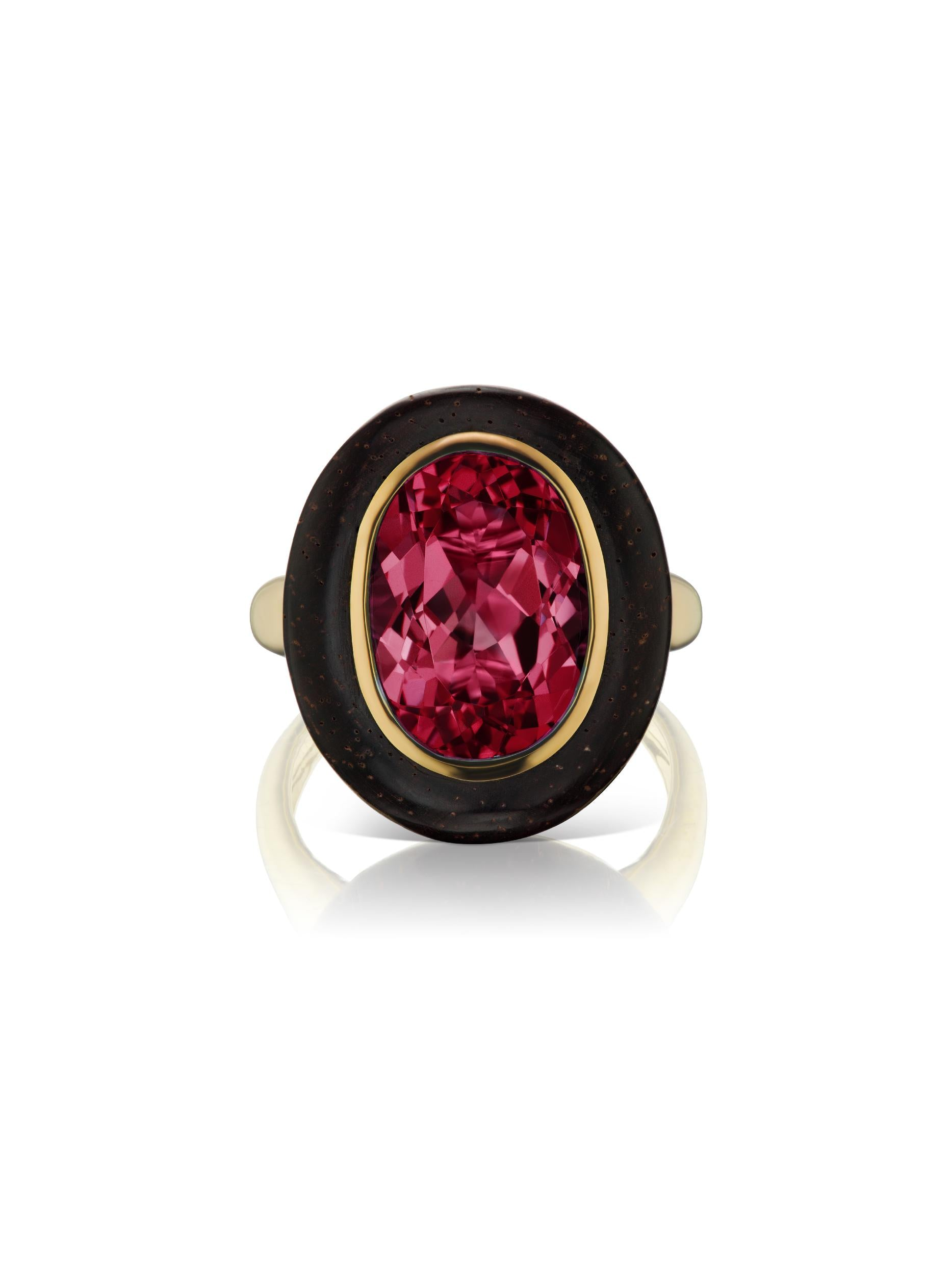 Voyager North-South Oval Rhodolite Wood Ring