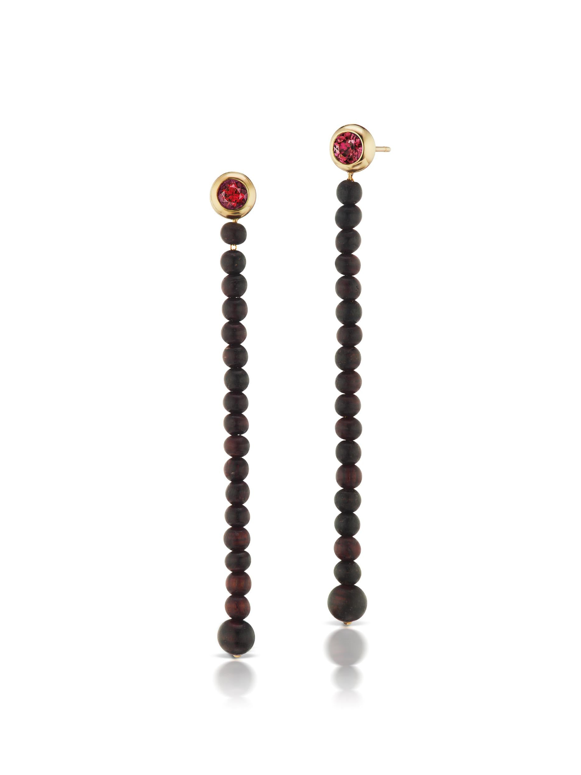 Voyager Rhodolite Wood Drop Earrings