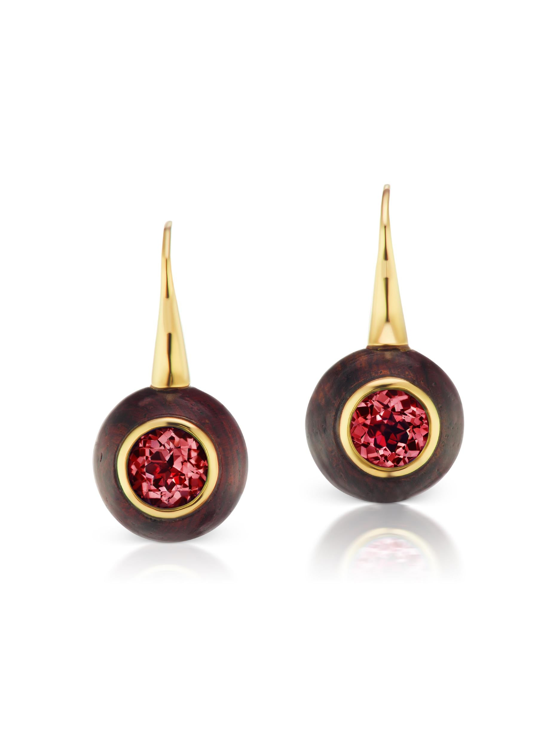 Voyager Rhodolite Wood Wire Earring