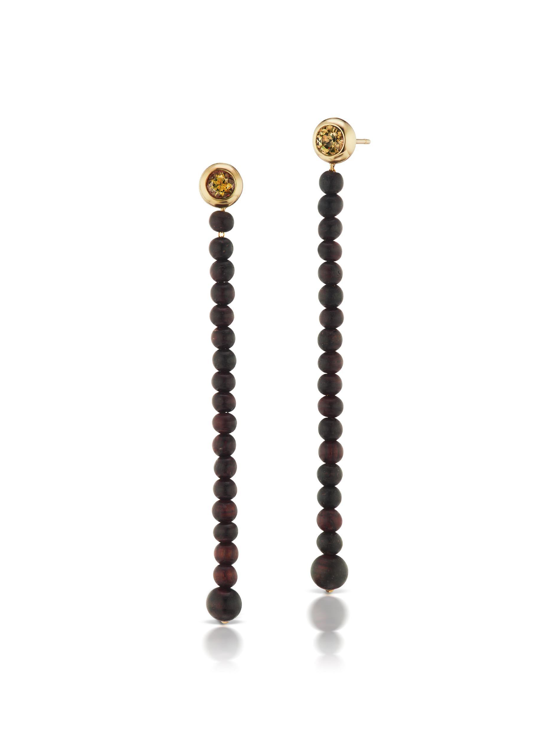 Voyager Smokey Topaz Wood Drop Earrings