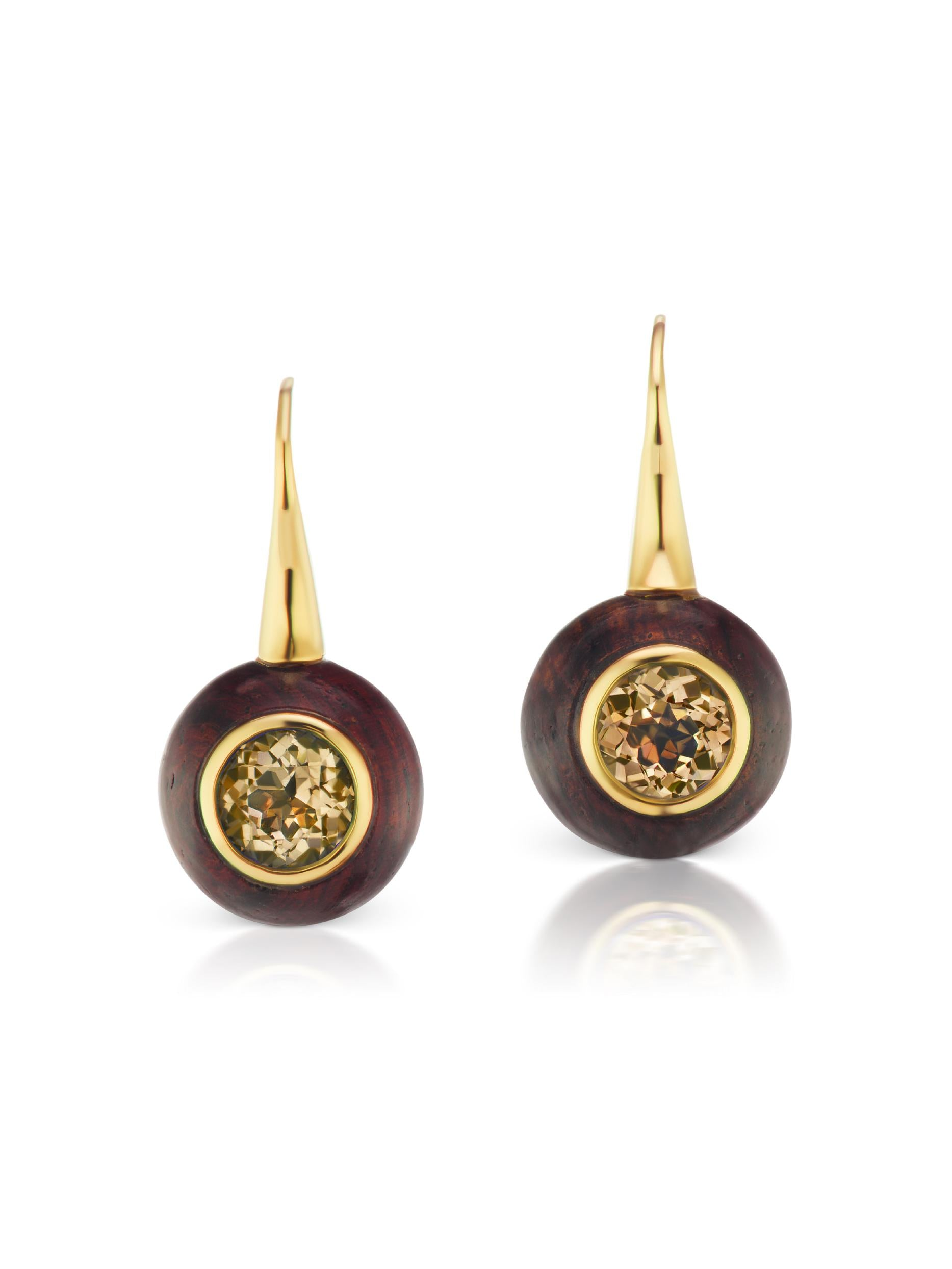Voyager Smokey Topaz Wood Wire Earring