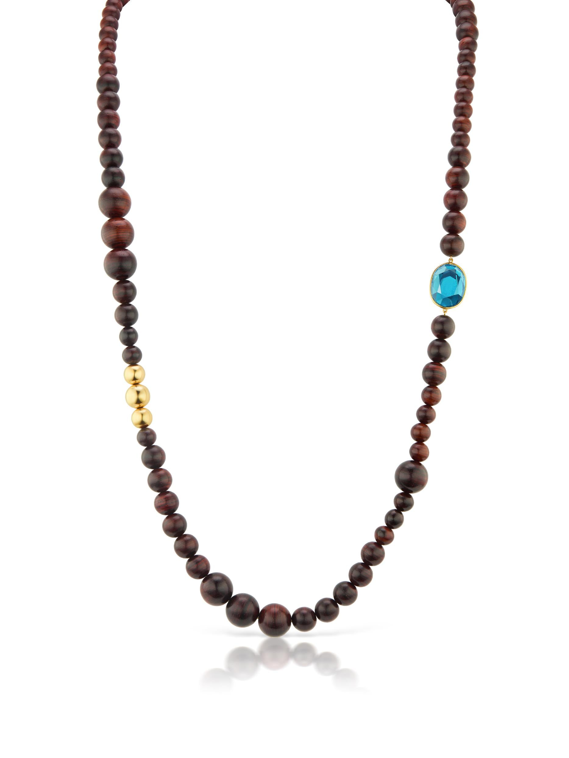 Voyager Wood Bead Necklace with Blue Topaz