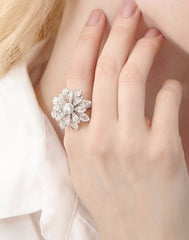 - Aster White Gold Blossom Ring -