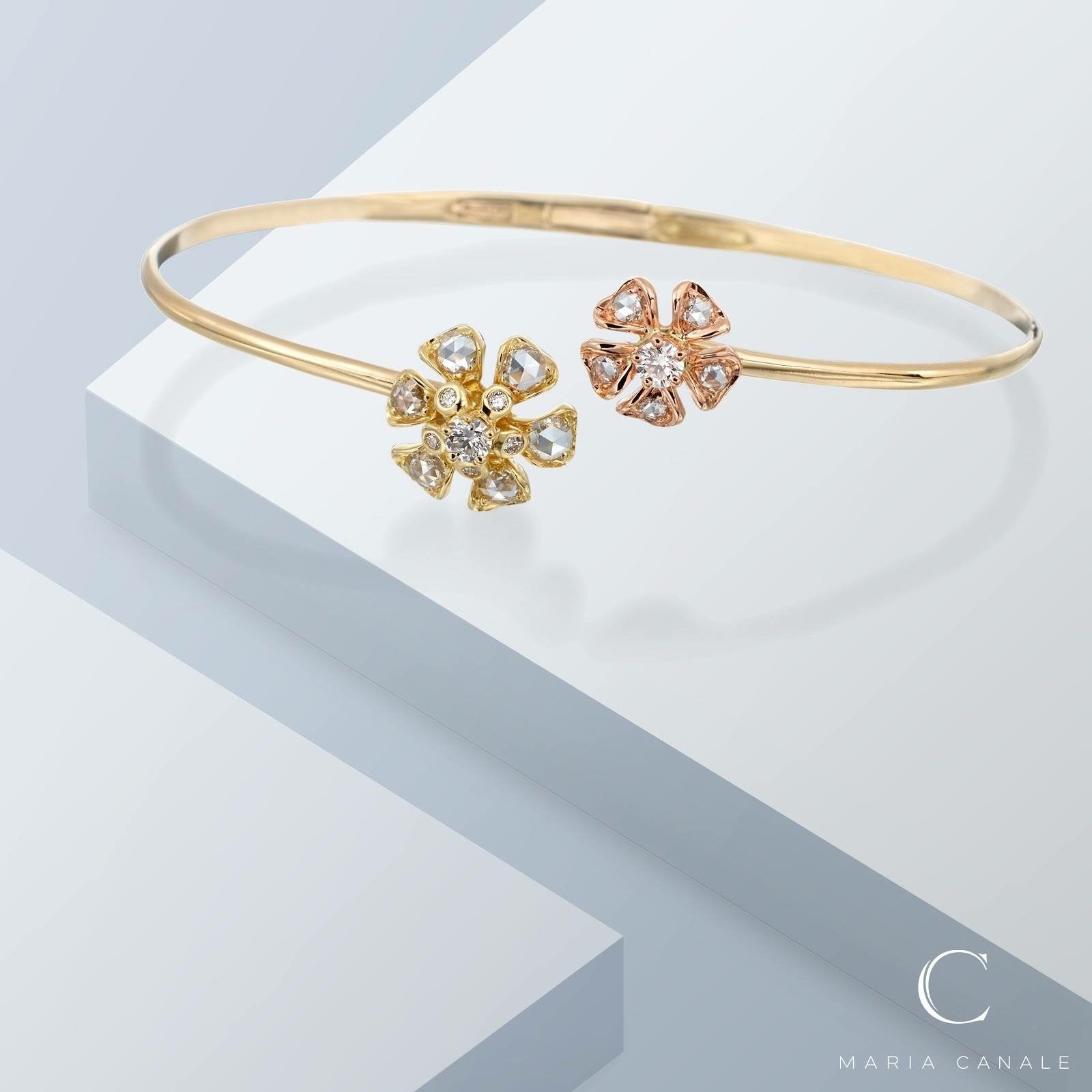 Petite Aster blossom bangle bracelet