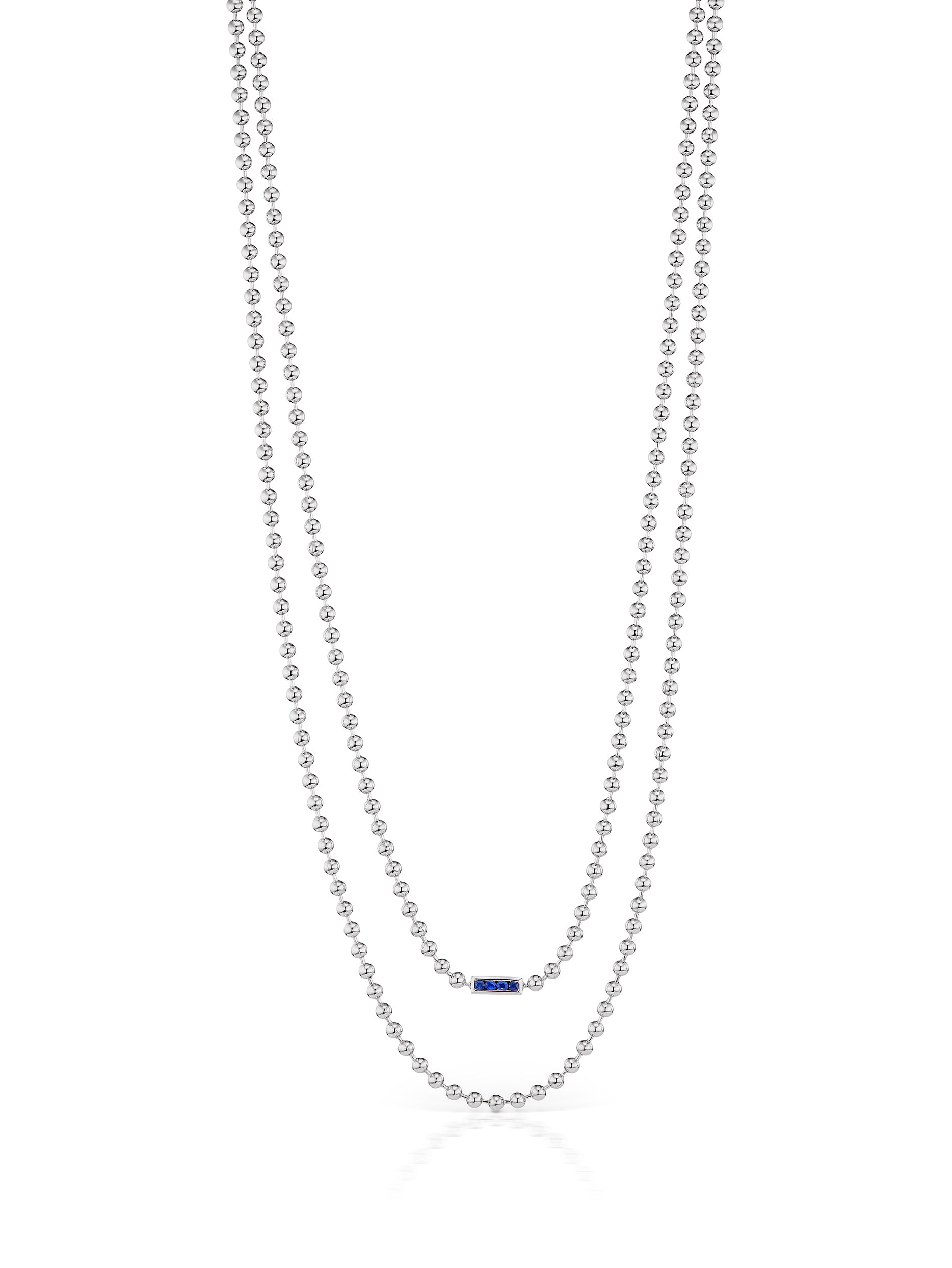 Sterling Fringe Chain Sapphire Clasp Necklace