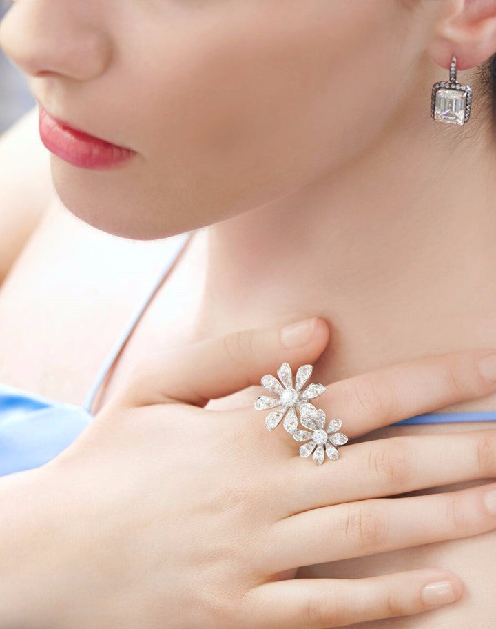 double blossom aster diamond ring
