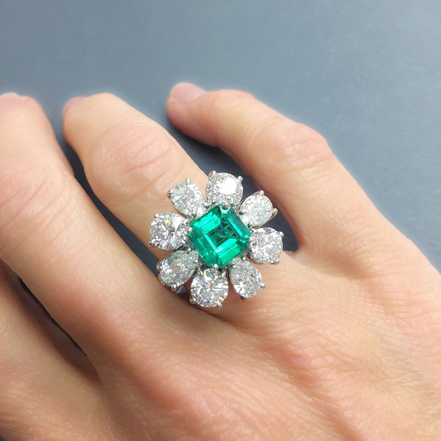 Princess Crown Emerald Ring