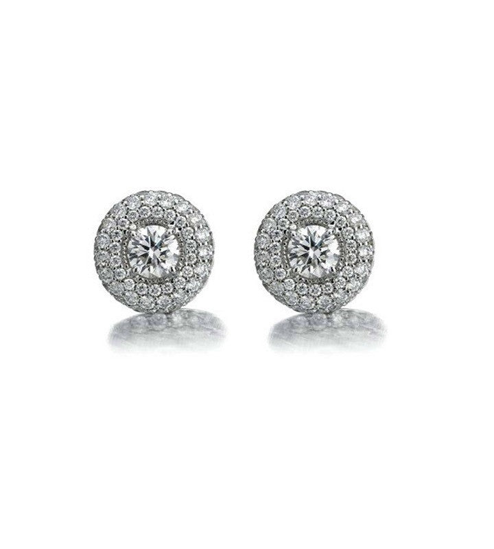 Luna Halo Diamond Earrings