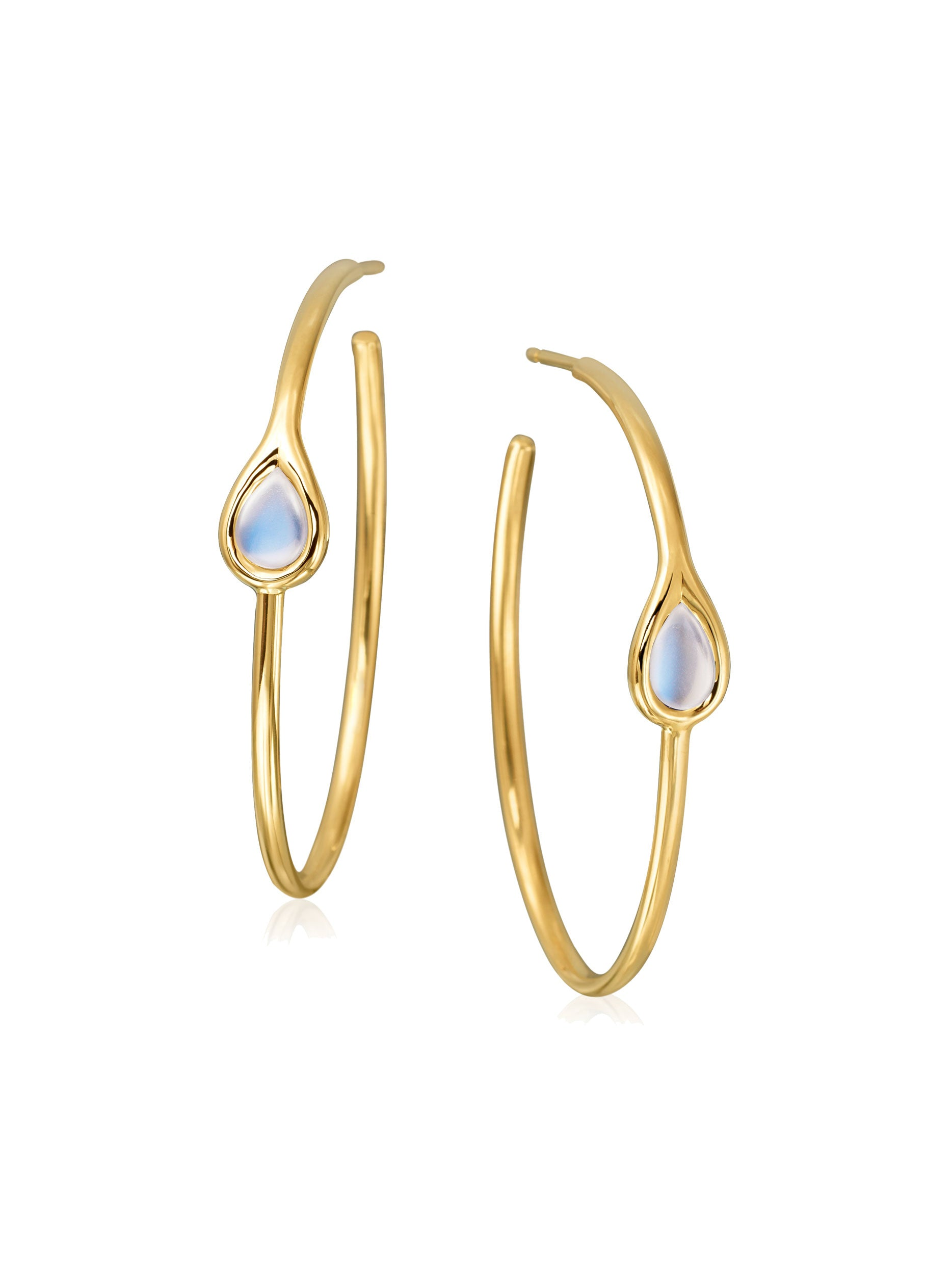 Drop Moonstone Hoop Earrings