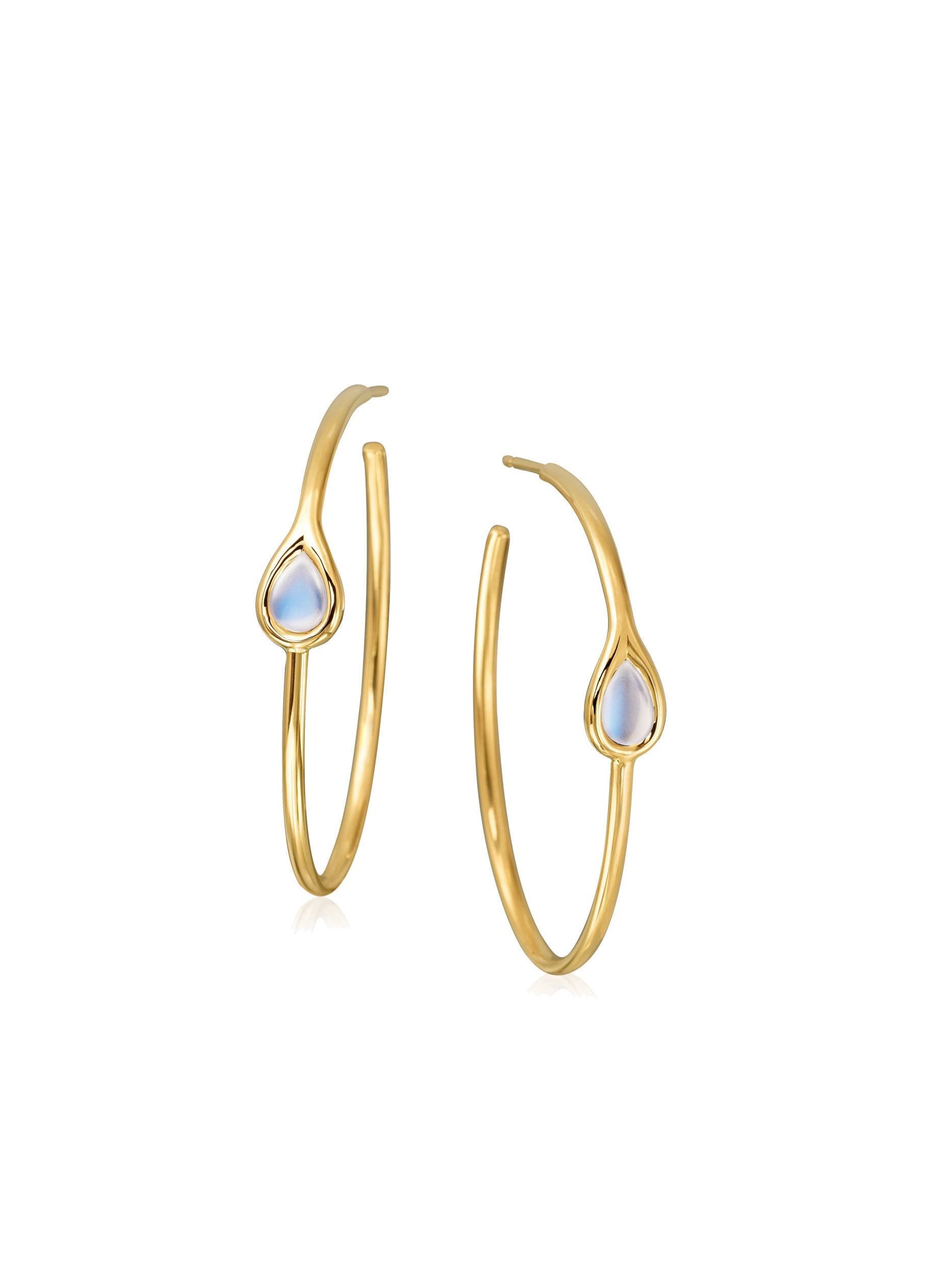 Petite Moonstone Hoop Earrings