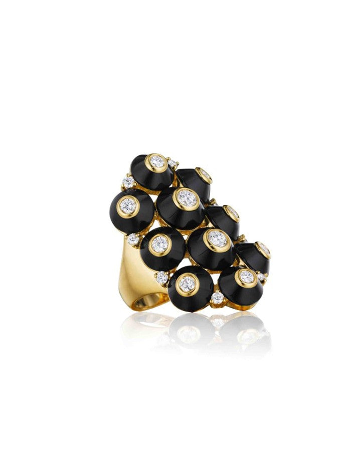Pyramide Onyx and Diamond ring