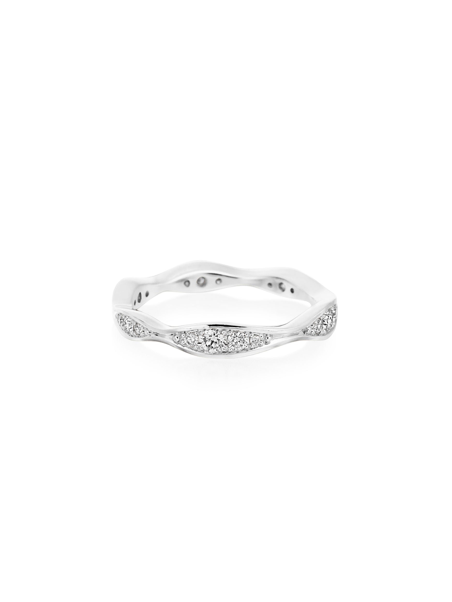 Wave White Gold Eternity Diamond Band