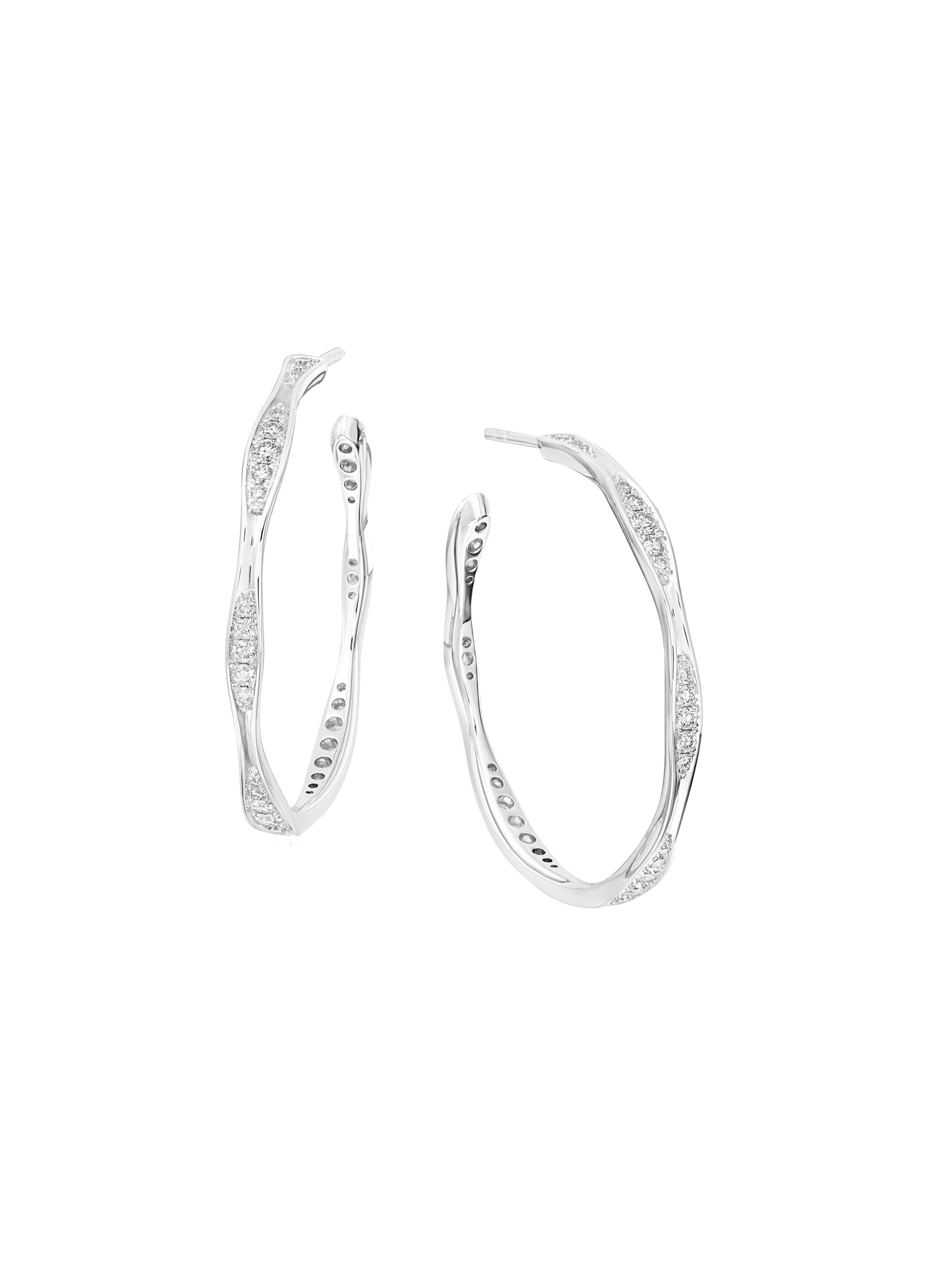 Medium White Gold Wave Diamond Hoop