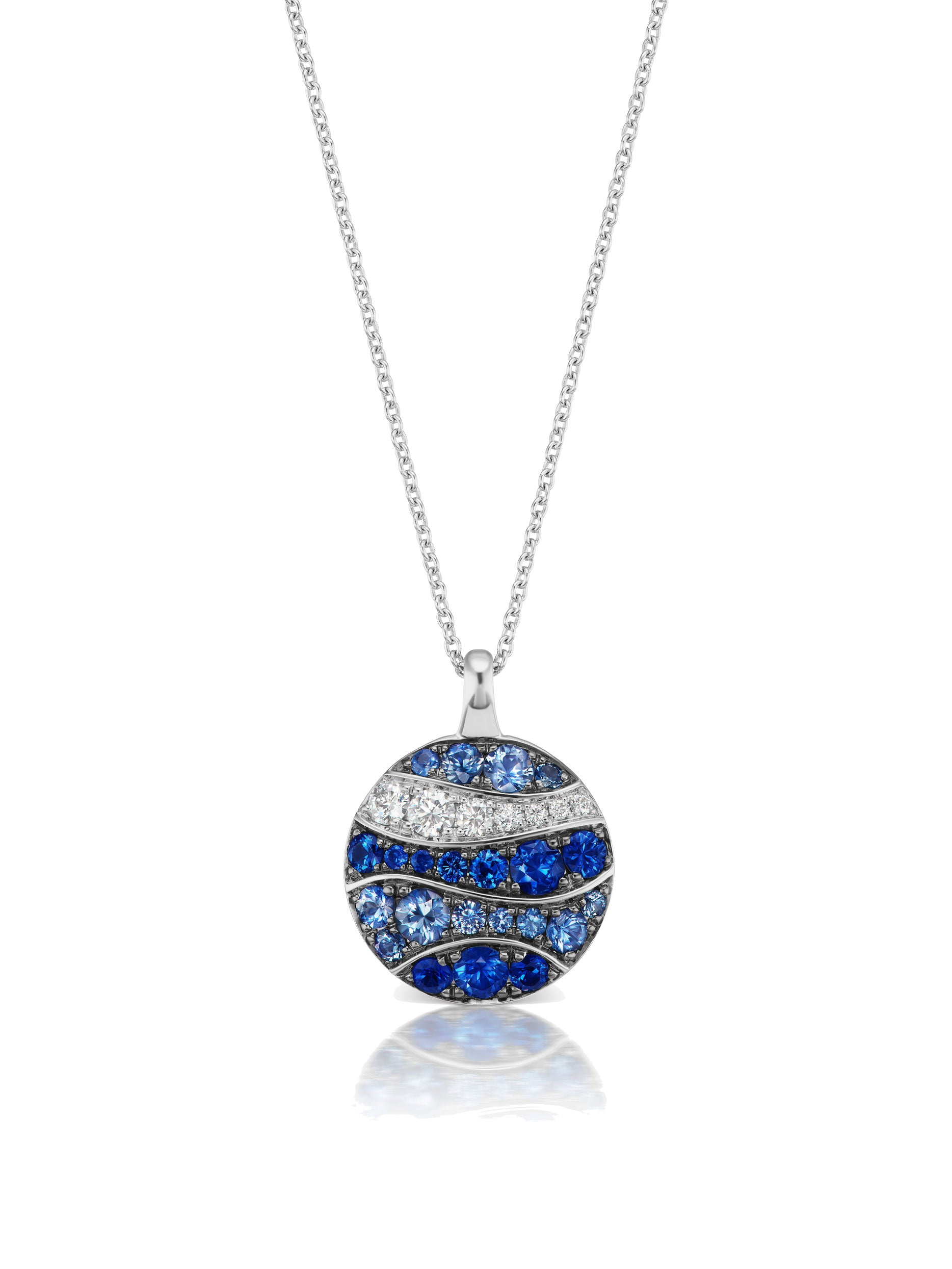 Wave White Gold Disc Pendant Necklace