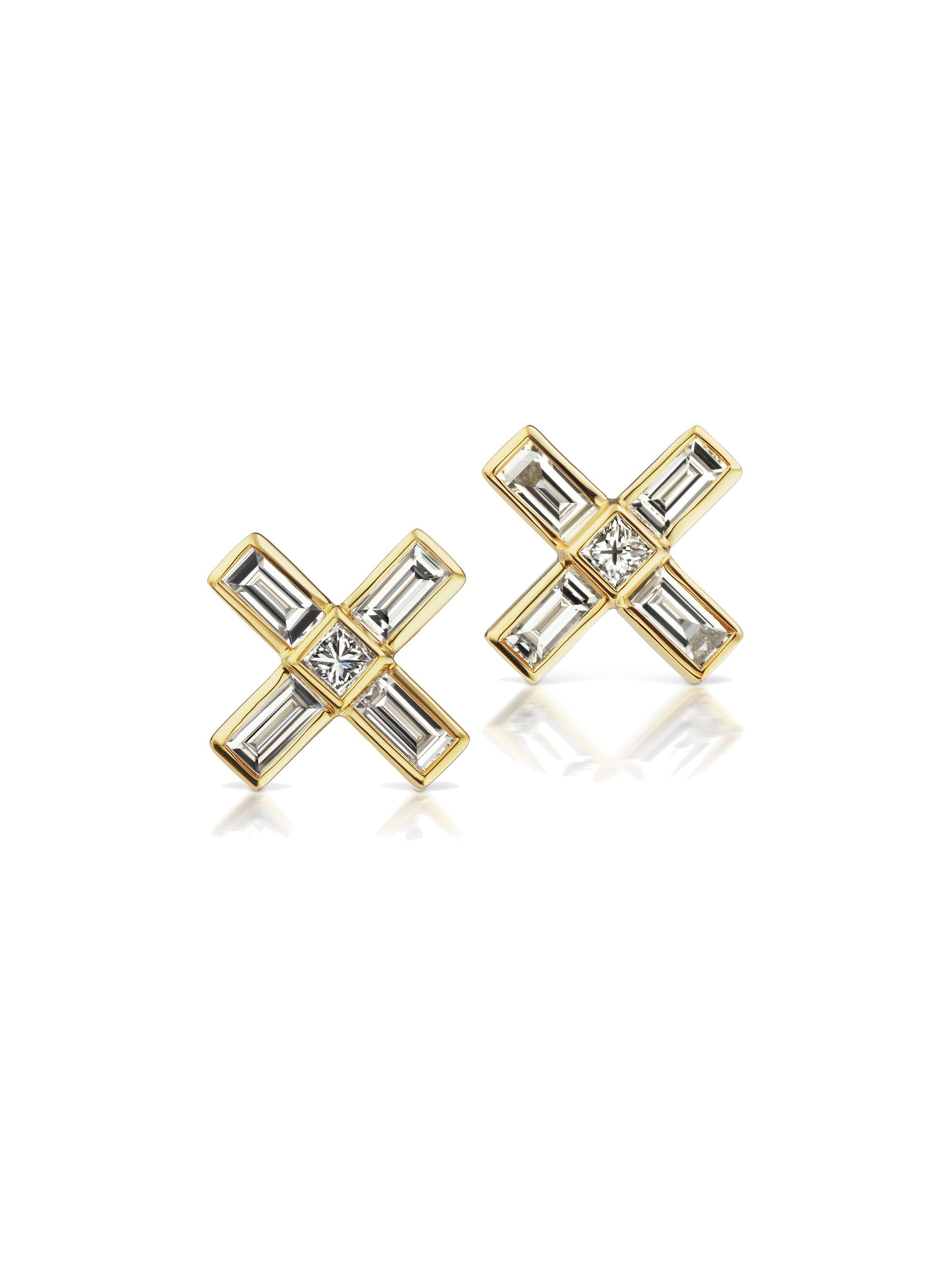 "Deco ""X"" Diamond Earrings"
