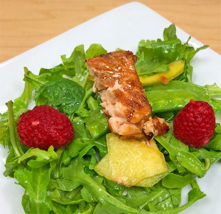 Maple Bourbon Salmon with Peaches & Greens Salad
