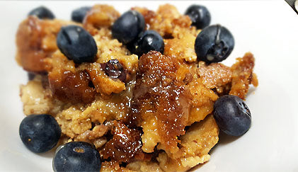 Blueberry & Passion Fruit Bread Pudding