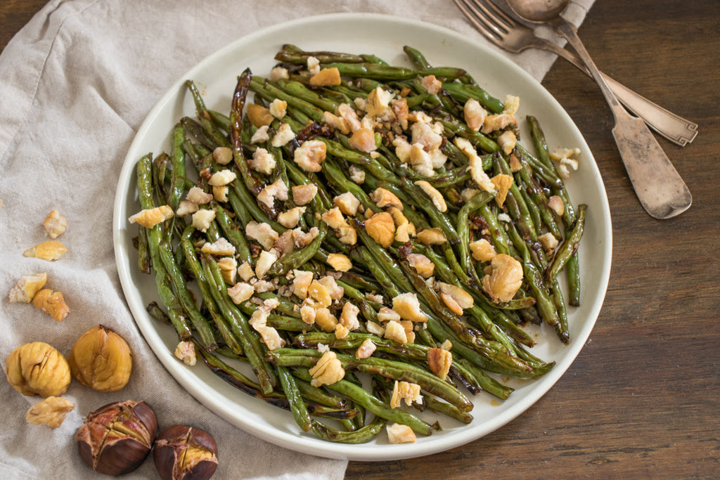 Blistered Teriyaki Green Beans with Spiced Chestnuts
