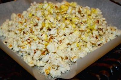 Popcorn with Parmesan, Cracked Black Pepper, and Wild Mushroom and Sage Olive Oil