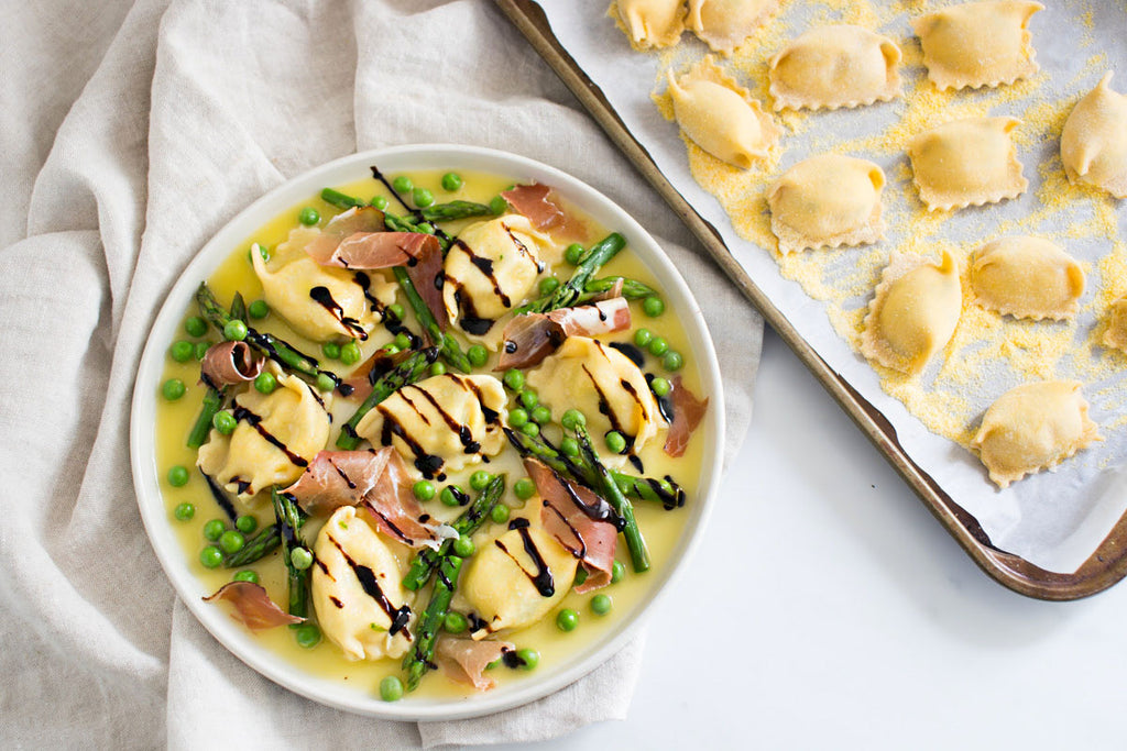 Agnolotti with Spring Vegetables and Prosciutto