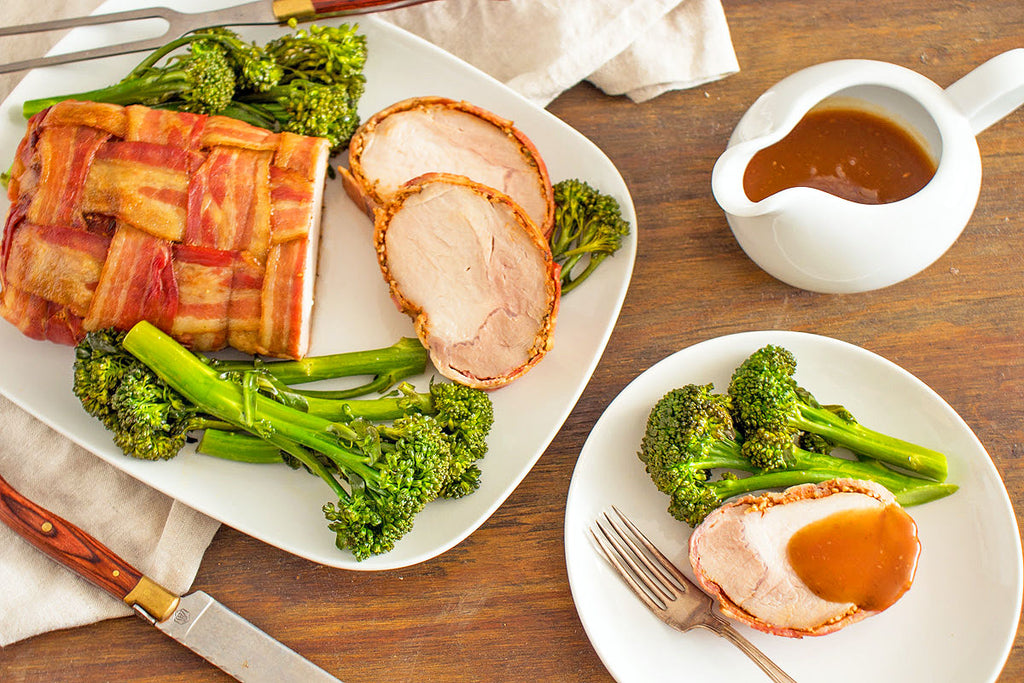 Bacon & Apple Pork Roast with Italian Greens