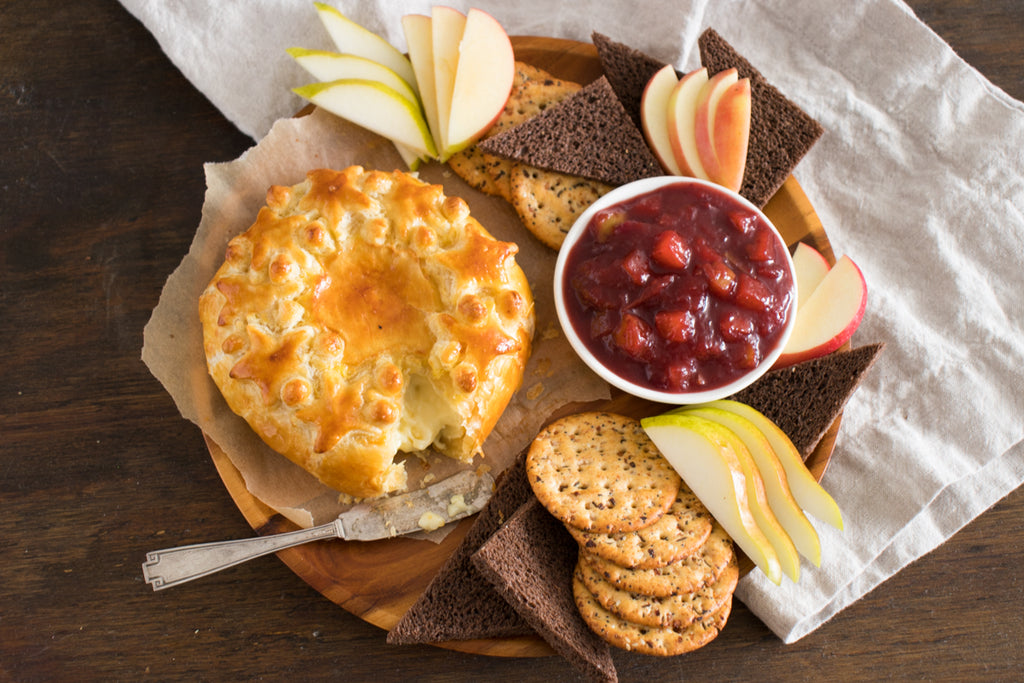 Baked Camembert with Herb Winter Fruit Compote