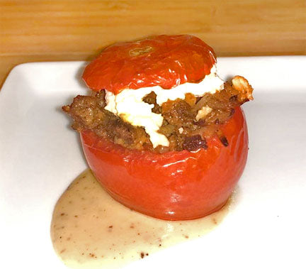 Braised Stuffed Peppers and Tomatoes