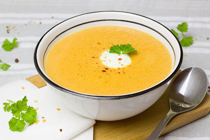 Roasted Carrot Soup with Curry & Coconut Milk