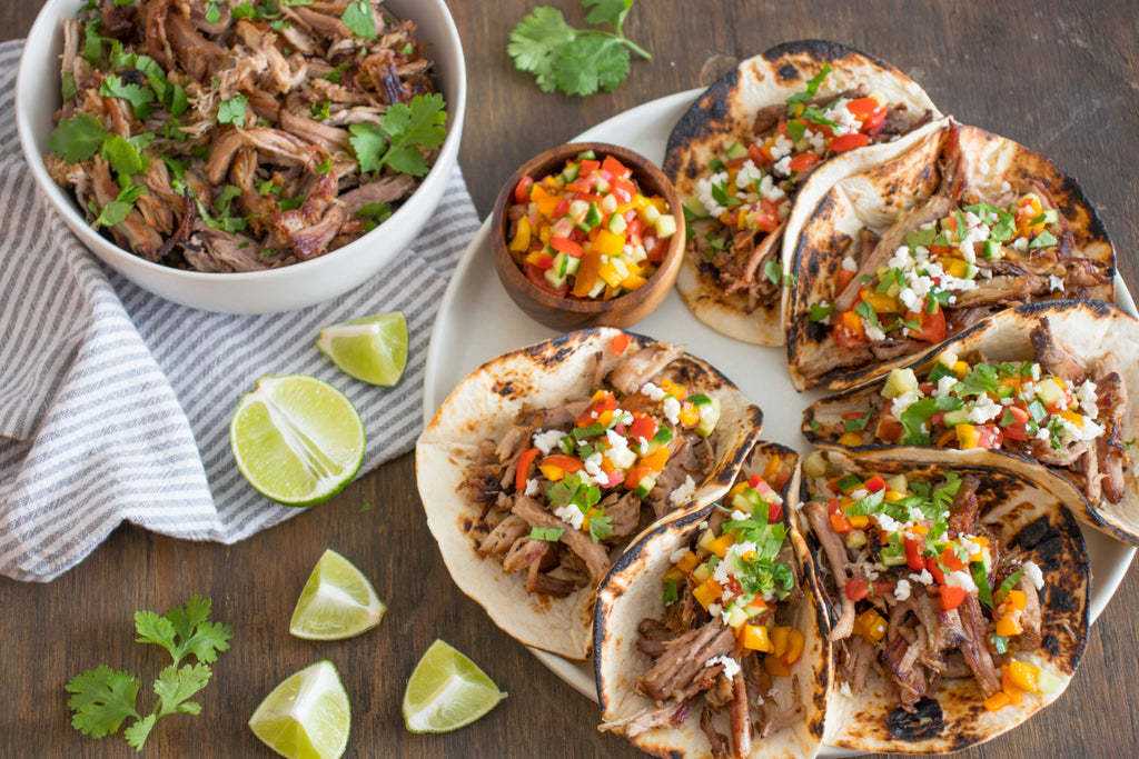 Drunken Crock Pot Carnitas with Gazpacho-Inspired Salsa