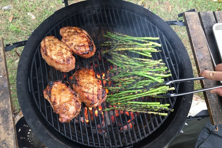 Grilled Pork Chops and Asparagus with Lemon-Truffle Vinaigrette