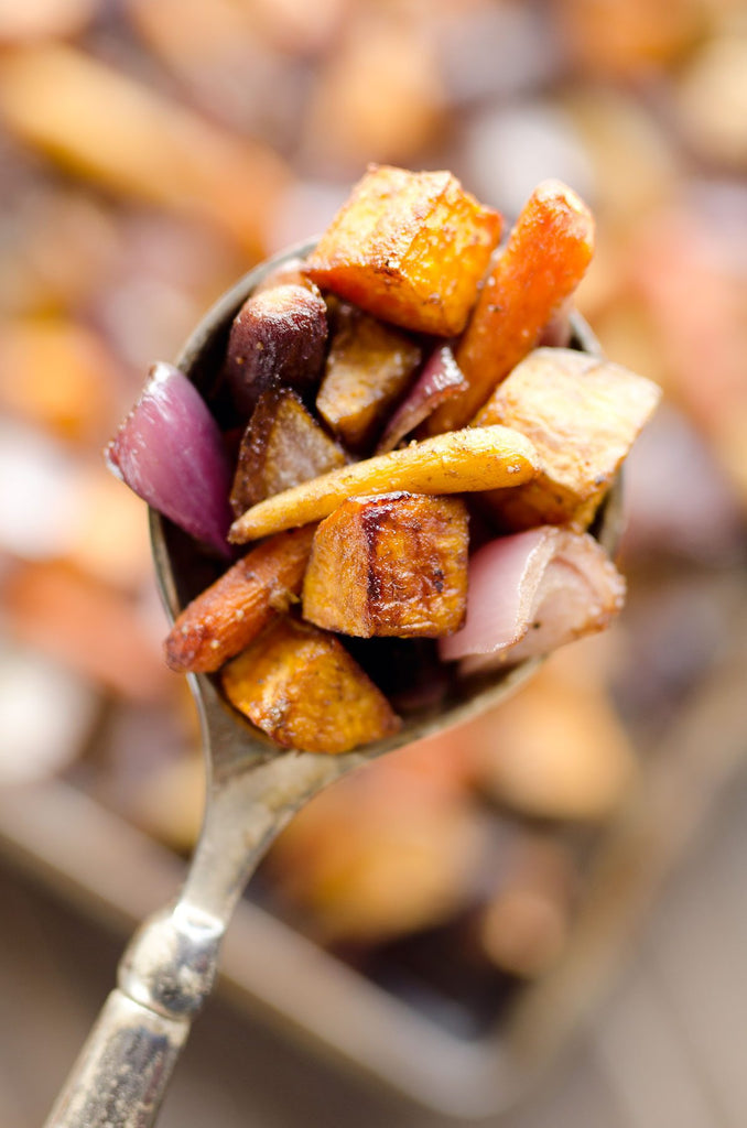 Roasted Fall Root Vegetables with Mushroom and Sage and Gala Apple