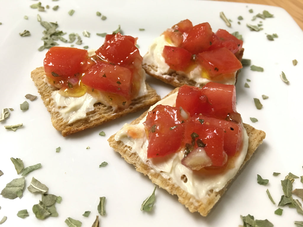Tomato Crostini with Whipped Feta Dip