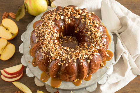 apple pound cake with pecan topping sweet butter olive oil granny smith apple white balsamic