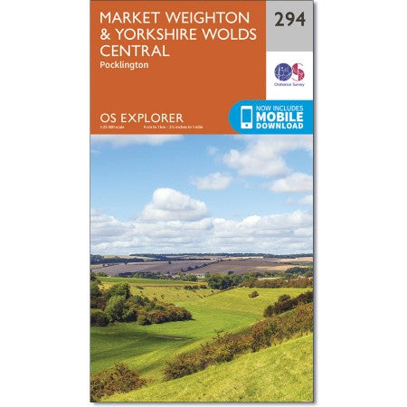 Map of Market Weighton & Yorkshire Wolds Central - OS Explorer Map 294 (Pocklington)