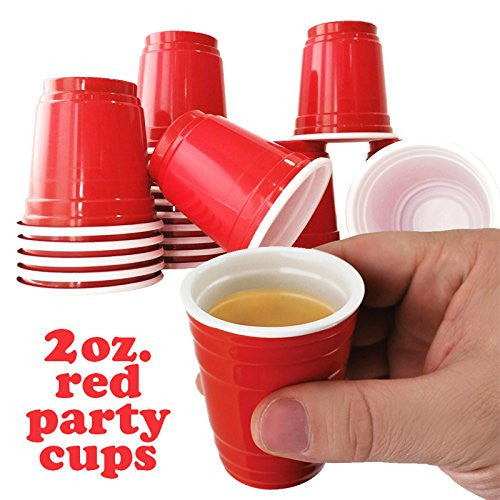 Mini Red Solo Cup Shot Glass (100 cups)  Disposable Shot Glasses - Plastic Shot Glasses for Jello Shots