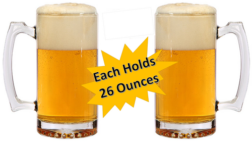 Beer Mugs - Heavy Duty Glass Mug - Tall Drinking Glass - Thick Glass Keeps Beer Ice Cold! - 26 oz Beverage Mug - Large Mugs