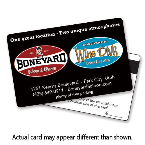 Boneyard Saloon & Wine Dive Gift Card - choose denomination in listing
