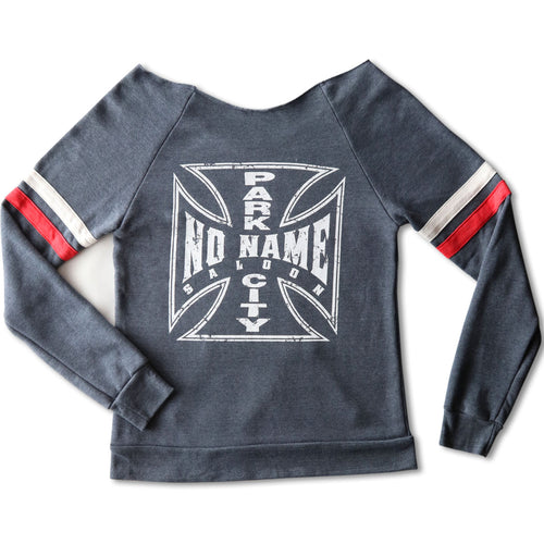 No Name Saloon Iron Cross Cutoff Sweatshirt WOMENS - Blue