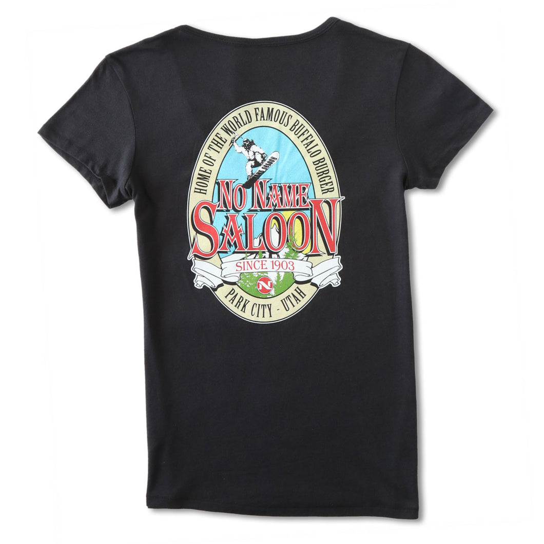 No Name Saloon Classic Logo V neck T WOMENS' - Black