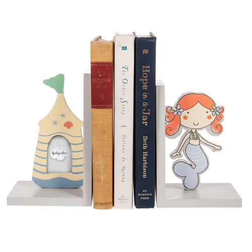 Midwest-CBK Children's Bookends Sand Castle Photo Frame and Mermaid