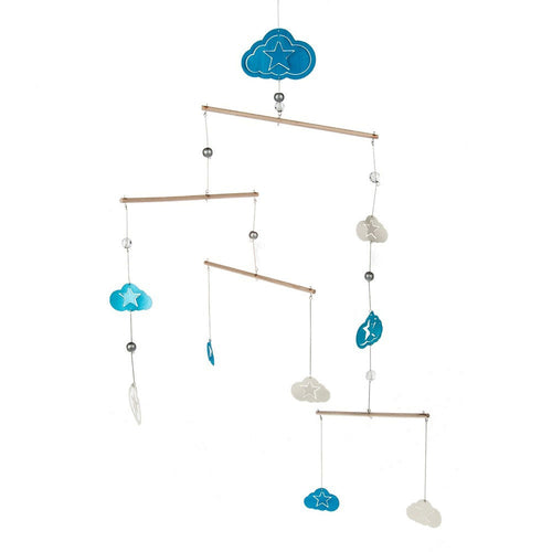 Midwest-CBK Clouds and Stars Nursery Mobile Blue/White